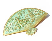 RESERVED Vintage Spanish DAMASCENE Fan Brooch TOLEDO Spain Large Turquoise Mint Green Beautiful