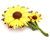 RESERVED LISTING Vintage Enamel Flower Brooch 1960s Daisy Brown Eyed Susan Sunny Yellow