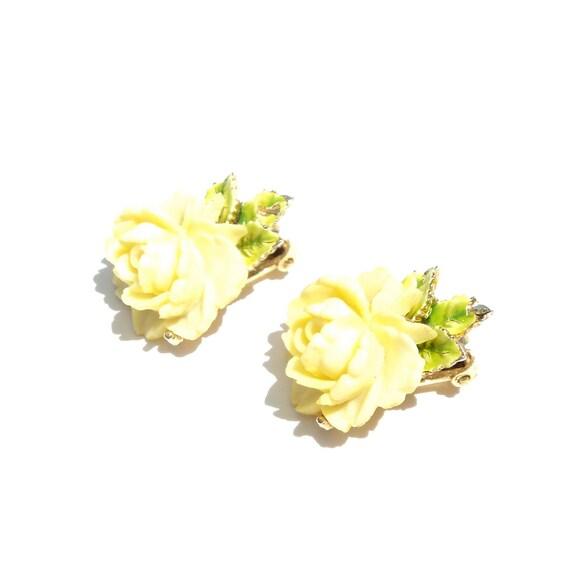 RESERVED LISTING Celluloid Rose Earrings by ART Vintage Rose Earrings Cabbage or Cottage Rose Clip On Vintage Plastic Flower Earrings