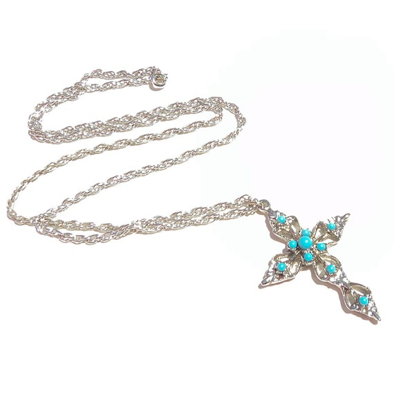 Vintage Turquoise CROSS Necklace Southwestern Jewelry Native American Style FAUX Turquoise SILVER 1970s