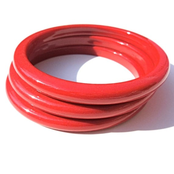 vintage plastic bangle bracelets three cherry by malibloom