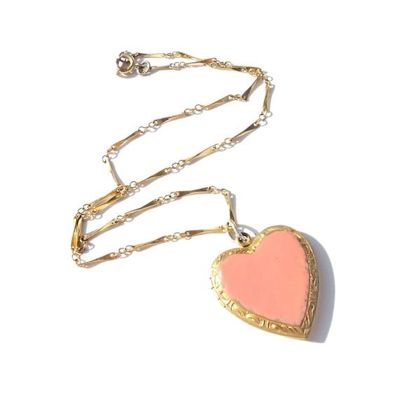 Vintage VALENTINE 1940s Double Sweetheart Enamel HEART Locket Necklace Pink Peach