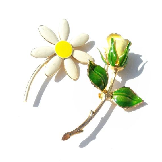 Vintage Enamel Flower Brooch Pair SUNNY Enamel Daisy Enamel Rose Brooches 1960s Flower Brooch Pair SPRING Flowers