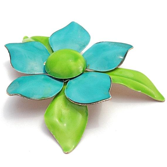 LARGE Vintage ENAMEL Flower Brooch 1960s Flower Power Vintage Flower Brooch Blue Green