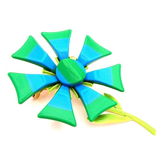 Vintage Plastic Enamel Flower Brooch 1960s DAISY Brooch Groovy Hippie Chic Flower Power  Blue Green Stripes