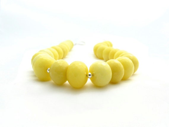 last chance. SUNRISE. yellow lemon faceted agate chunky necklace with sterling silver