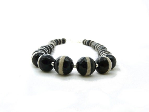 SERENGETI. zebra agate black and white stripe agate necklace with sterling silver