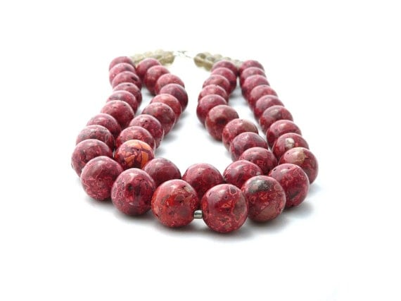 LOVE. red jasper necklace with smoky quartz. sterling silver clasp. double strand. chunky. valentine.
