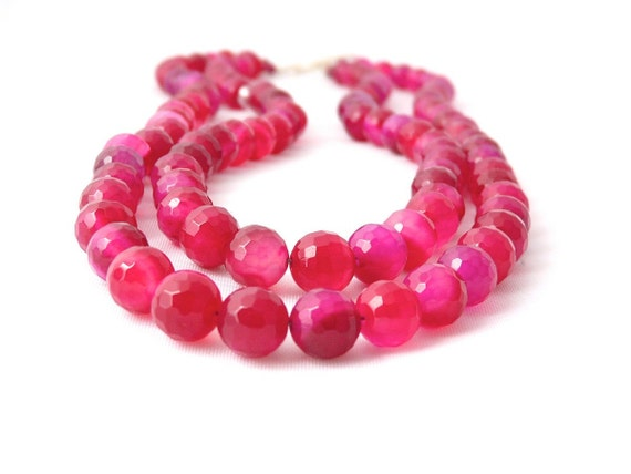BLOOM. bright pink agate two strand spring necklace