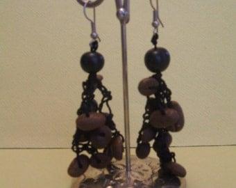 Natural coffee bean  pierced dangling earrings