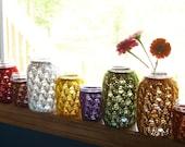 Mason Jar Wedding Centerpieces - Wedding Decoration - Candle Holders / Flower Vases - Lace Knit - Set of 10