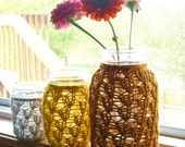 Mason Jar Wedding Centerpieces - Wedding Decorations - Candle Holder / Flower Vase - Lace Knit - Set of 3