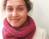 Hand Knit Cowl - Fall Neck Warmer - The Classic Cowl - Wool Blend - Raspberry