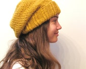 Winter Hat - Knit Hat - The Cuffed Slouch Hat - Wool Blend - Mustard - meganEsass