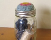 Mason Jar Pincushion / Sewing Organizer - Upcycled - Hostess Gift - Wool Blend - Seaspray, Raspberry & Mustard