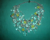 Clear Bead Necklace  with green vintage Swarovski sliders