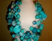Handmade genuine Turquoise Statement  Necklace ( blue, brown, metal)