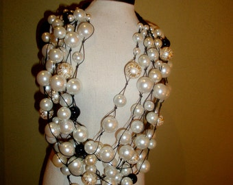 Pearl Necklace ( white, ivory, black  and cream pearls)