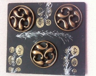 Pierced Brass Cast Vintage Reproduction Buttons - Set of 3