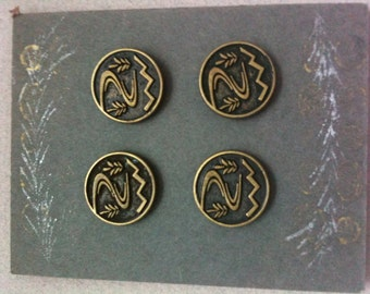 Brass cast buttons - vintage reproduction - Trees, river, stream