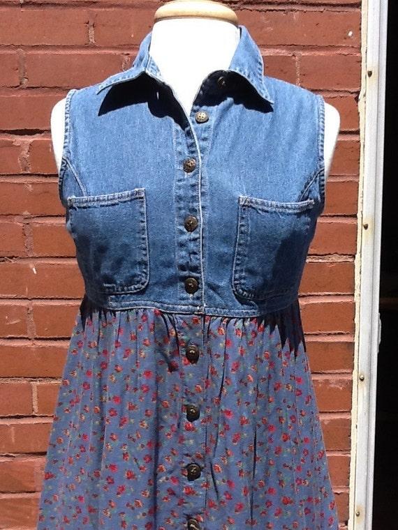 Vintage Denim & Floral Dress