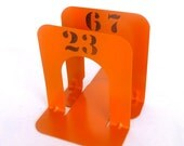 Small ORANGE INDUSTRIAL BOOKENDS