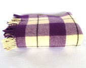 PURPLE PLAID Wool THROW