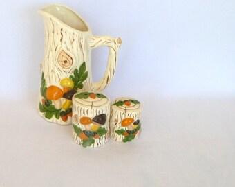 VINTAGE White FAUX WOOD ceramic set