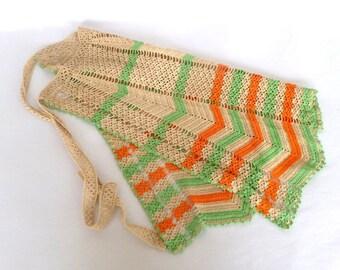 VINTAGE CROCHETED APRON/ Orange Green Chevron Stripes