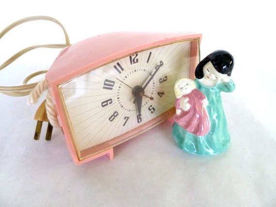 Reserved for honeybearandbee Vintage Electric Pink Alarm Clock
