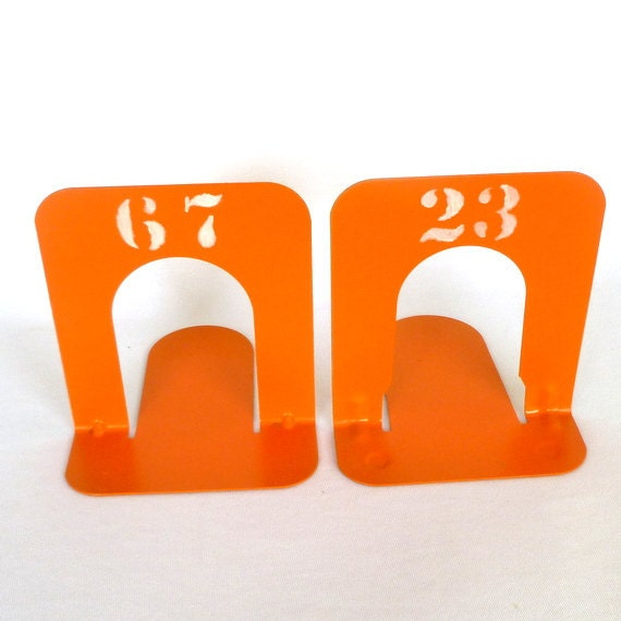 Small Orange Industrial Style Bookends