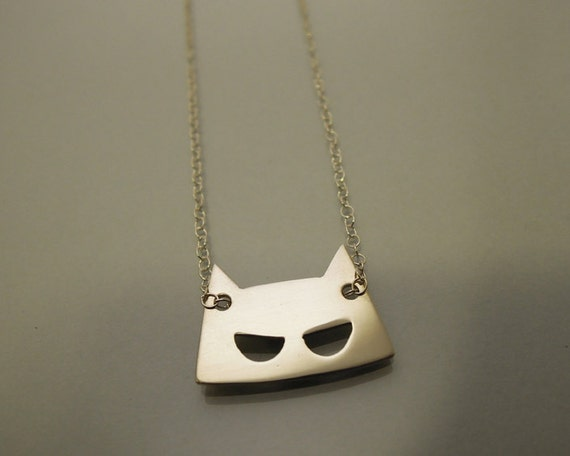 Mask necklace silver / collier Masque argent