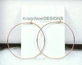 14K Rose Gold Hoop Earrings, Large Hoops, Kristin Noel Designs