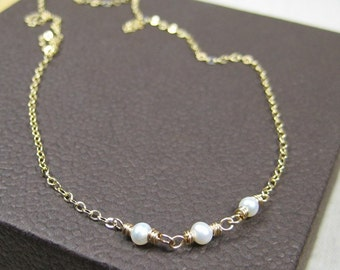 14K Gold Fill Necklace with Three Small Freshwater Pearls, Linked by Hand, Kristin Noel Designs