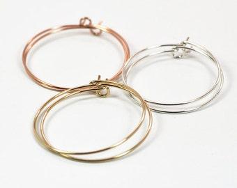 Medium Hoop Earring Collection, Sterling Silver, 14K Rose Gold fill, 14K Yellow Gold fill, Everyday Earrings, Kristin Noel Designs