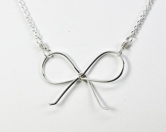 Silver Bow Necklace, Argentium Sterling Silver, Cute, Girly, Kristin Noel Designs