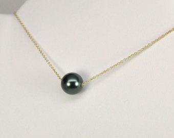 Tahitian Pearl on 14K Yellow Gold fill Chain, Swarovski Crystal Pearl, Blue Black, Kristin Noel Designs