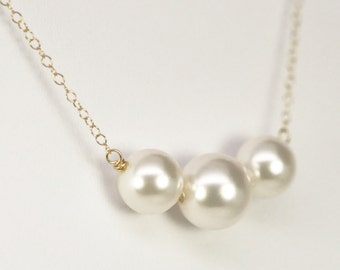 White Pearl Necklace, Simple Sweet, 14K Yellow Gold fill, Three, Kristin Noel Designs