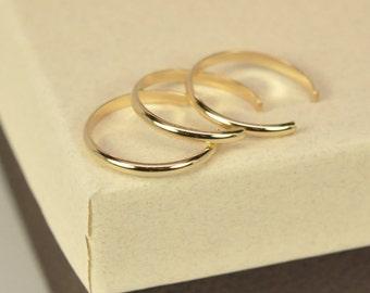 Gold Toe Rings, Set of 3 Adjustable Stacking Rings, 14k Yellow Gold fill, Kristin Noel Designs