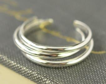 Silver Toe Rings, Three Stack, Solid Argentium Sterling Silver Adjustable Rings, Handmade Jewelry, Kristin Noel Designs