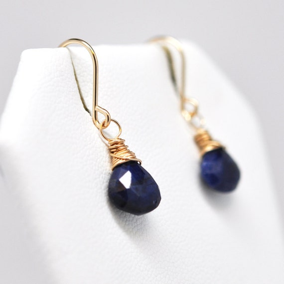 Navy Blue Sapphire Earrings, Wire Wrapped 14K Yellow Gold fill, September Birthstone, Kristin Noel Designs