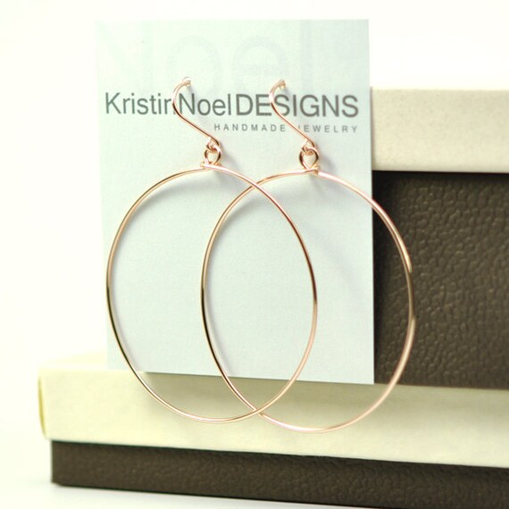 14K Rose Gold Fill Hoops, Hoop Earrings, Simple, Everyday, Minimalist, Kristin Noel Designs