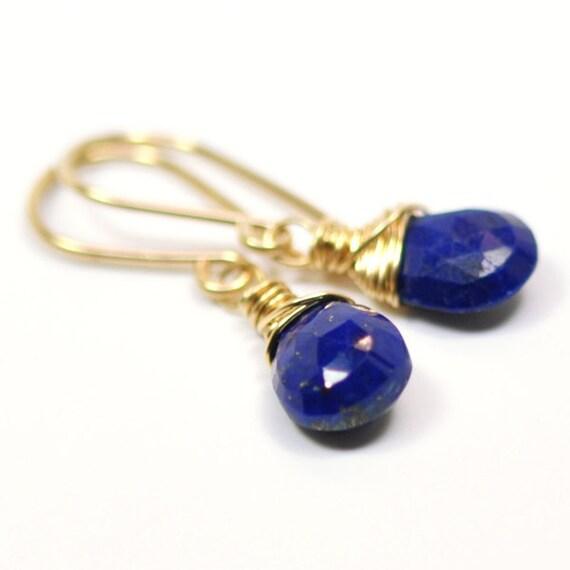 Lapis Lazuli Gemstone Earrings, Cobalt Blue, Wire Wrap, Kristin Noel Designs