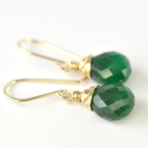 MAY BIRTHSTONE, Emerald Earrings, Natural Precious Gemstone on 14K Yellow Gold fill, Wire Wrapped