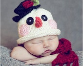 Newborn Frosty Snowman hat and scarf set- Photography Prop