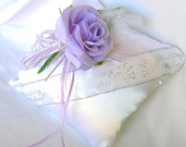 Wedding Wishes Ring Bearer Pillow in Lavender and Silver