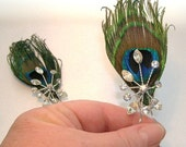 Peacock Eye Feather and Rhinestone Hair Pins - Ready to Ship