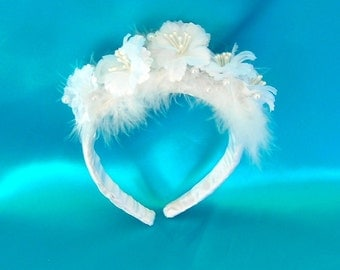 50% OFF, Last One, Flowered, Feathered, and Pearled Bridal Headpiece, Tiara or Headband