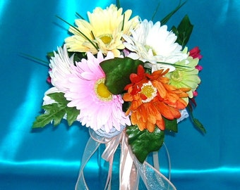 50% OFF COUPON, Bridal Bouquet With Gerbera Daisies in Pastels and Brights With Peach Colored Satin Wrapped Stems and Ribbons