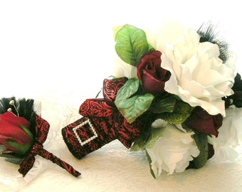 50% OFF COUPON CODE, Bridal Bouquet in White and Red Roses, Black Feather and Rhinestone Accents and Red and Black Damask Ribbon